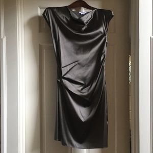 Helmet Lang Draped Silk Sheath Cocktail Dress